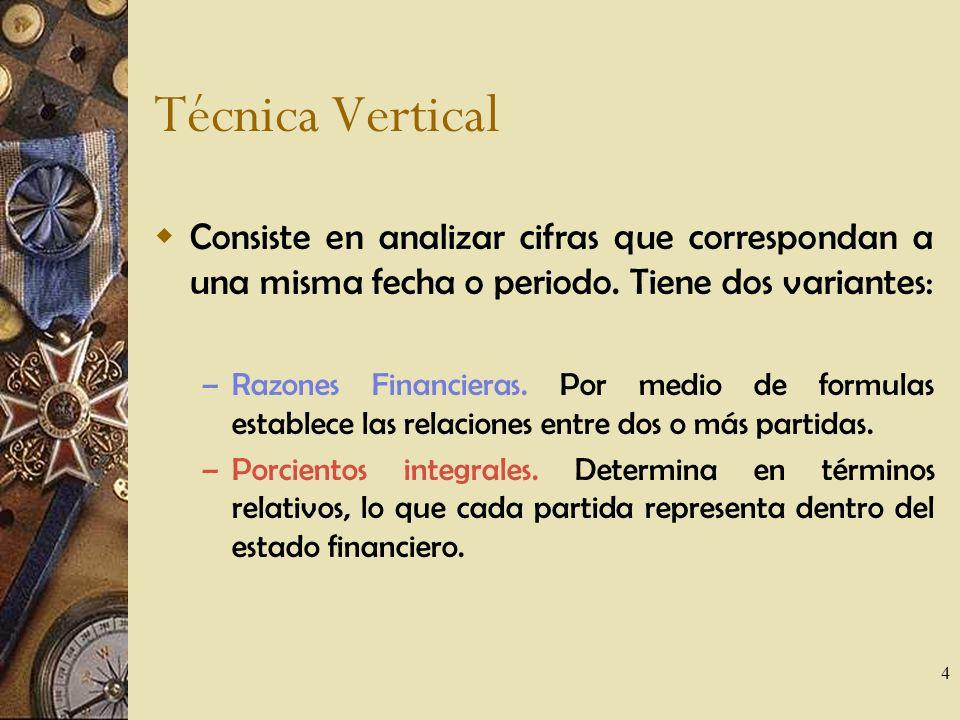 Técnica Vertical Consiste en analizar cifras que correspondan a una misma fecha o periodo. Tiene dos variantes: