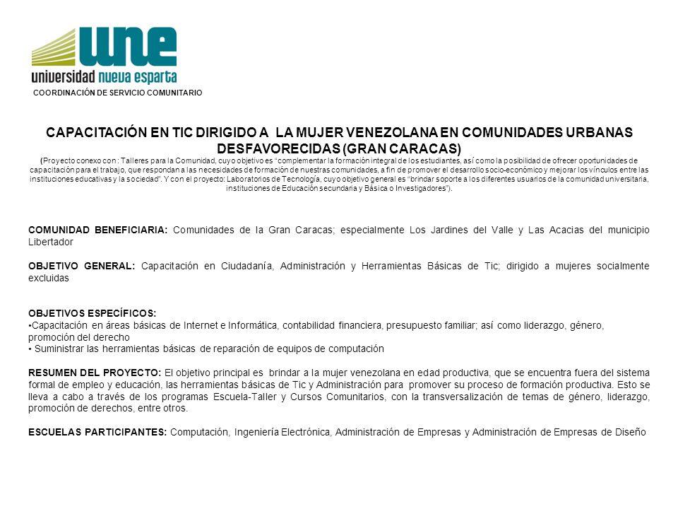 COORDINACIÓN DE SERVICIO COMUNITARIO