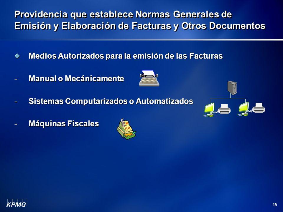 Providencia que establece Normas Generales de Emisión y Elaboración de Facturas y Otros Documentos