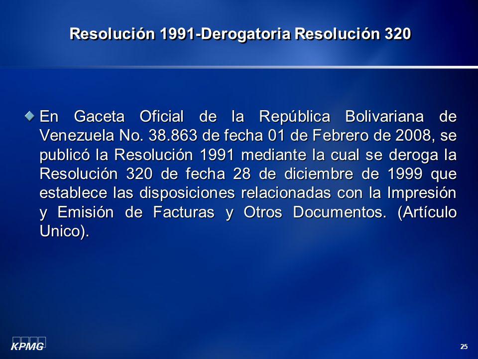 Resolución 1991-Derogatoria Resolución 320