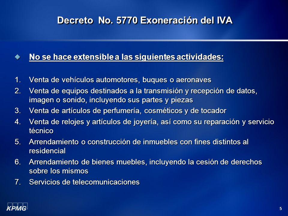 Decreto No. 5770 Exoneración del IVA