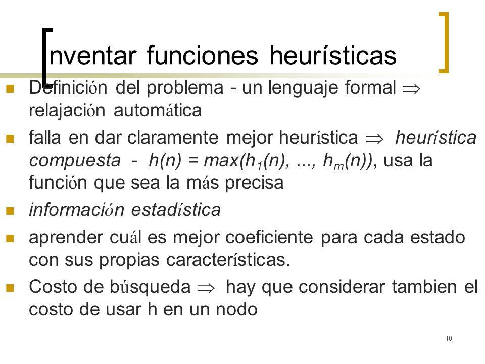 Inventar funciones heurísticas