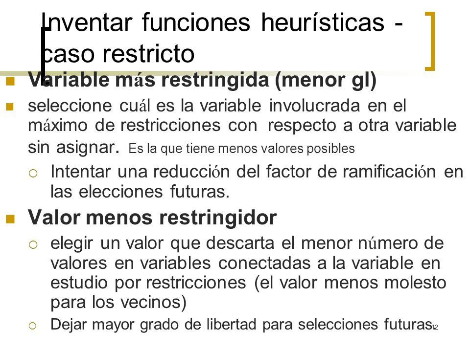 Inventar funciones heurísticas - caso restricto