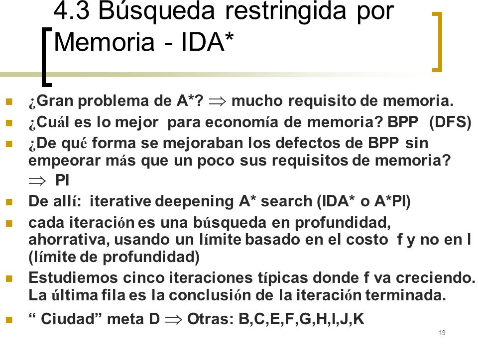 4.3 Búsqueda restringida por Memoria - IDA*