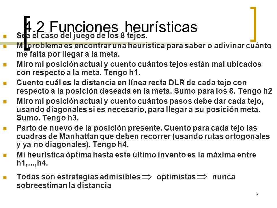 4.2 Funciones heurísticas