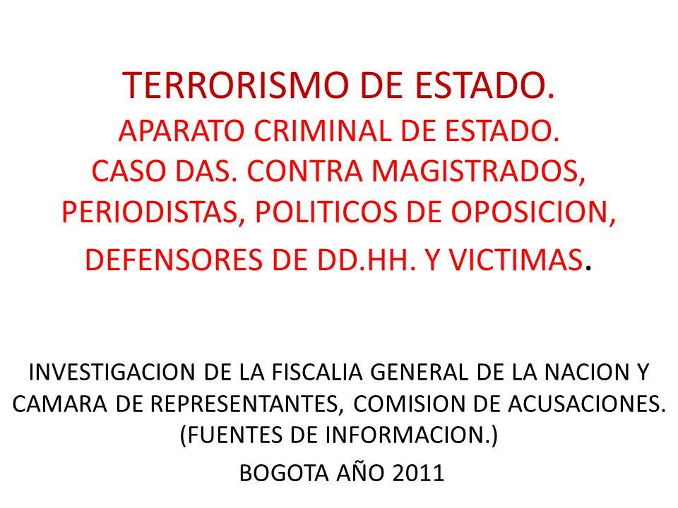 TERRORISMO DE ESTADO. APARATO CRIMINAL DE ESTADO. CASO DAS