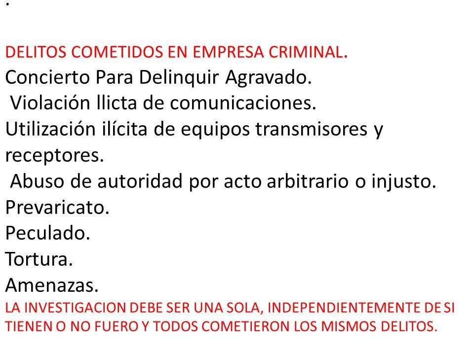 DELITOS COMETIDOS EN EMPRESA CRIMINAL