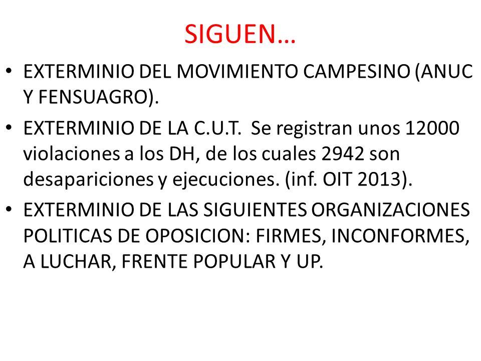 SIGUEN… EXTERMINIO DEL MOVIMIENTO CAMPESINO (ANUC Y FENSUAGRO).