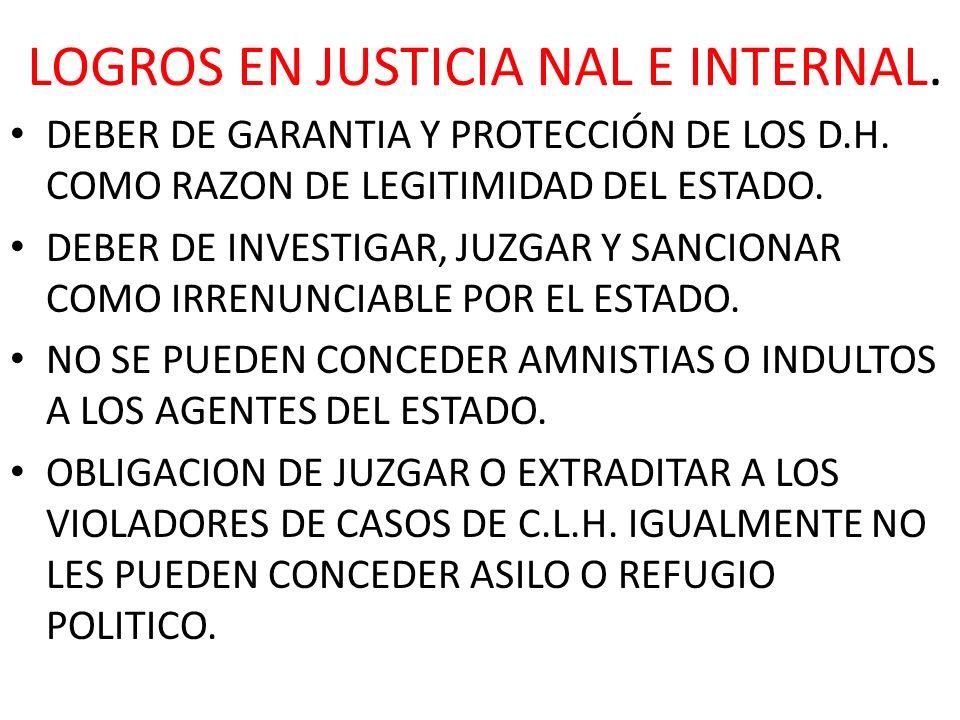 LOGROS EN JUSTICIA NAL E INTERNAL.