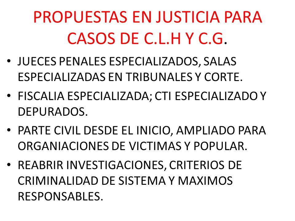PROPUESTAS EN JUSTICIA PARA CASOS DE C.L.H Y C.G.