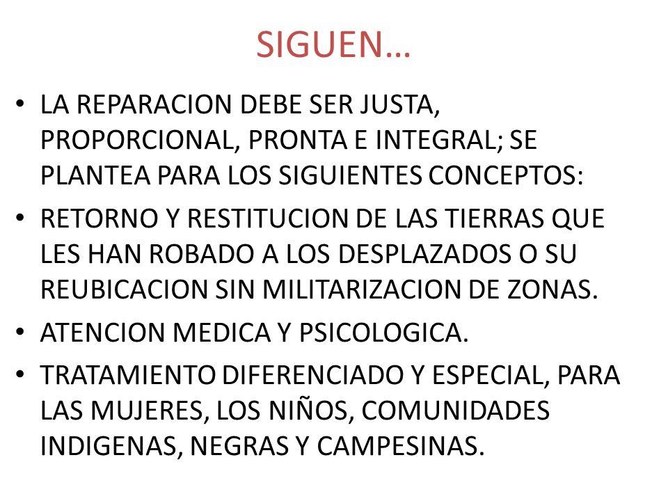 SIGUEN… LA REPARACION DEBE SER JUSTA, PROPORCIONAL, PRONTA E INTEGRAL; SE PLANTEA PARA LOS SIGUIENTES CONCEPTOS: