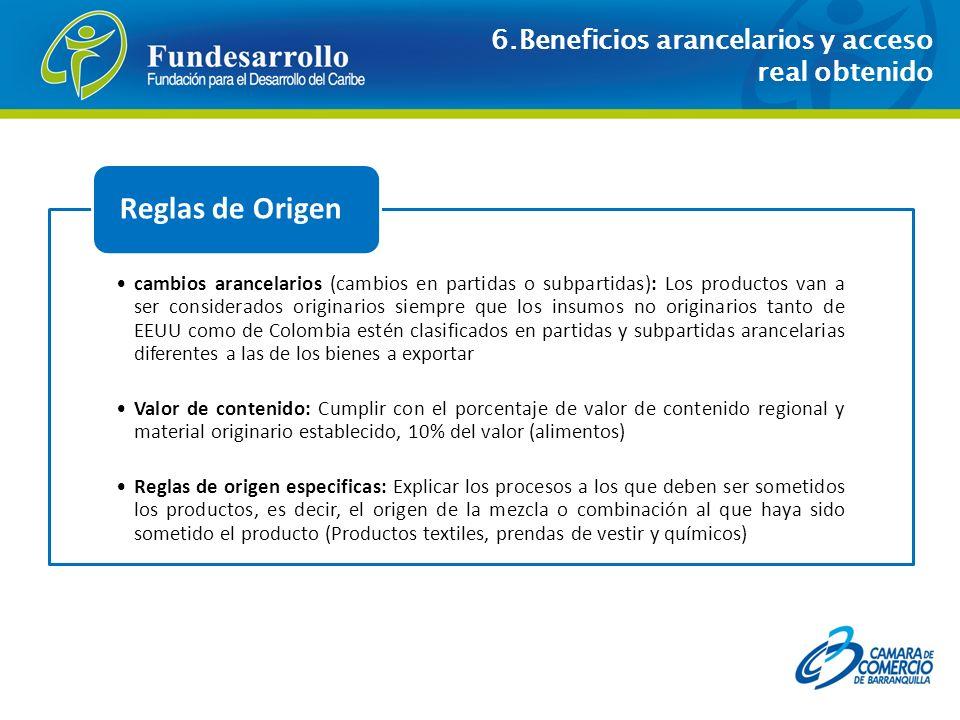 Reglas de Origen 6.Beneficios arancelarios y acceso real obtenido