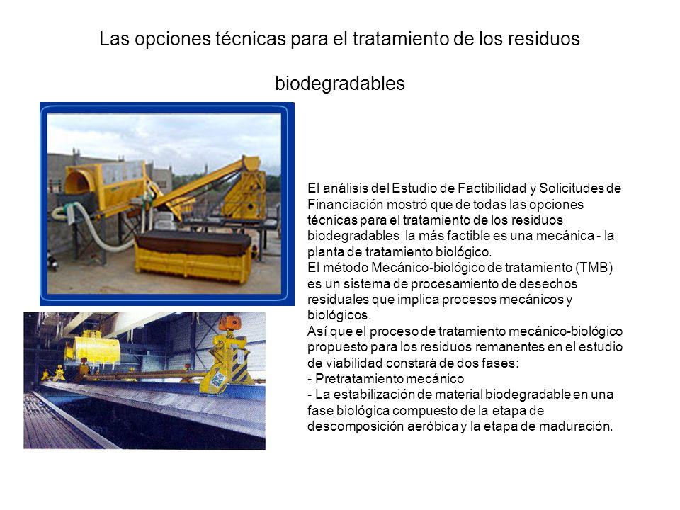 Las opciones técnicas para el tratamiento de los residuos biodegradables