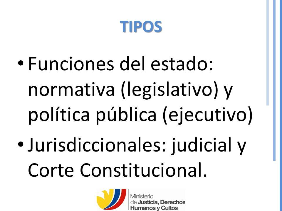 Jurisdiccionales: judicial y Corte Constitucional.