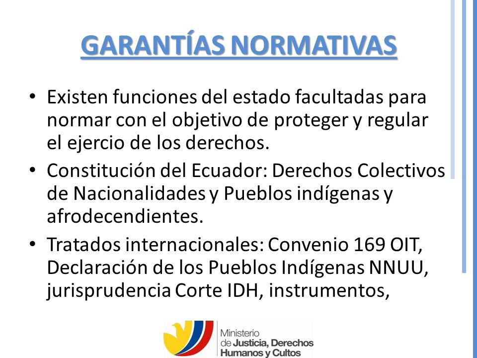 GARANTÍAS NORMATIVAS Existen funciones del estado facultadas para normar con el objetivo de proteger y regular el ejercio de los derechos.