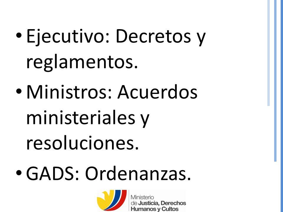 Ejecutivo: Decretos y reglamentos.