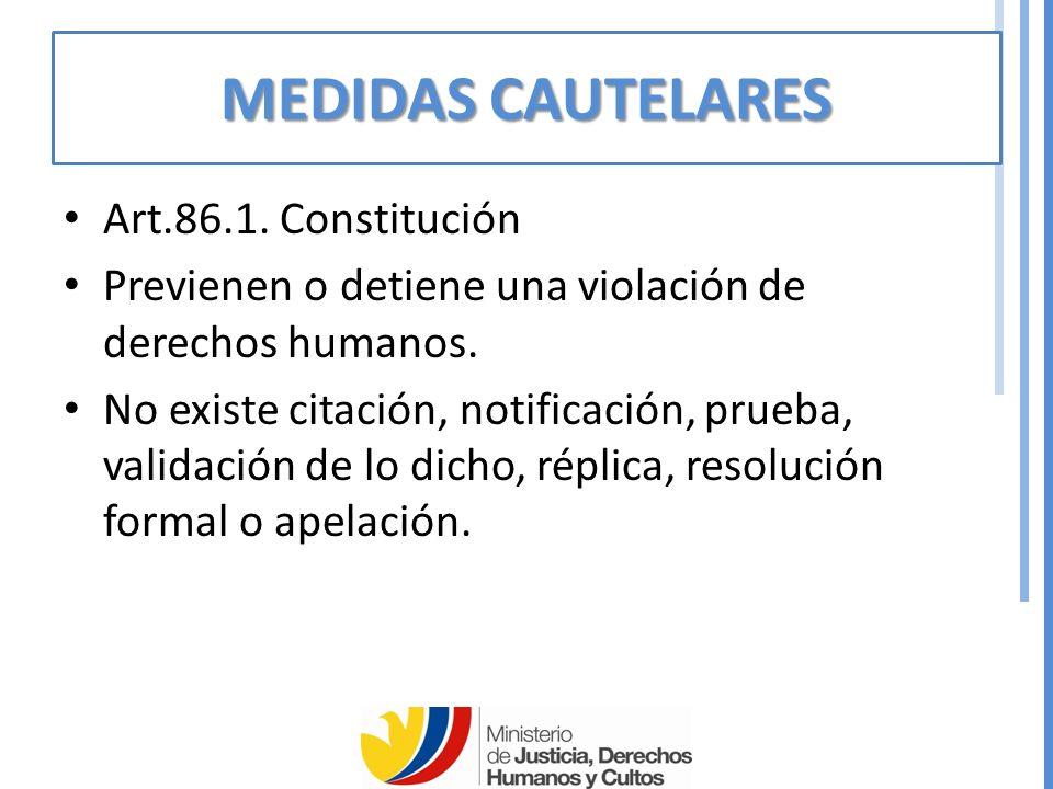 MEDIDAS CAUTELARES Art.86.1. Constitución
