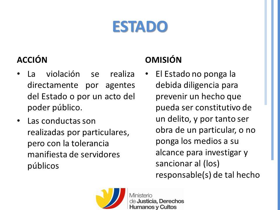 ESTADO ACCIÓN. OMISIÓN. La violación se realiza directamente por agentes del Estado o por un acto del poder público.