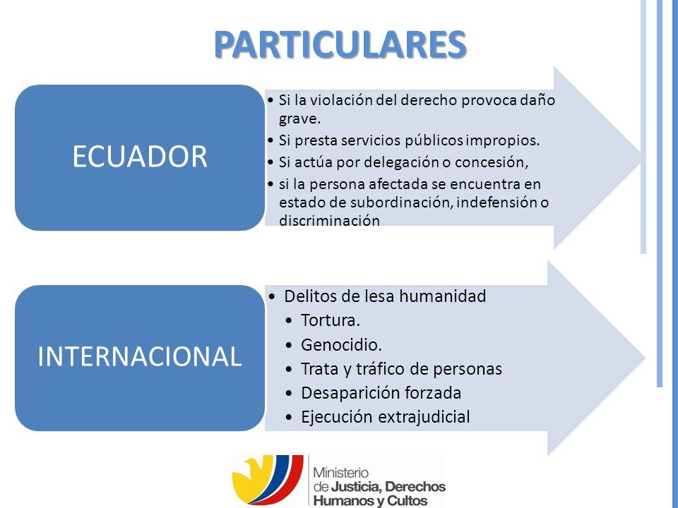 PARTICULARES ECUADOR INTERNACIONAL Delitos de lesa humanidad Tortura.