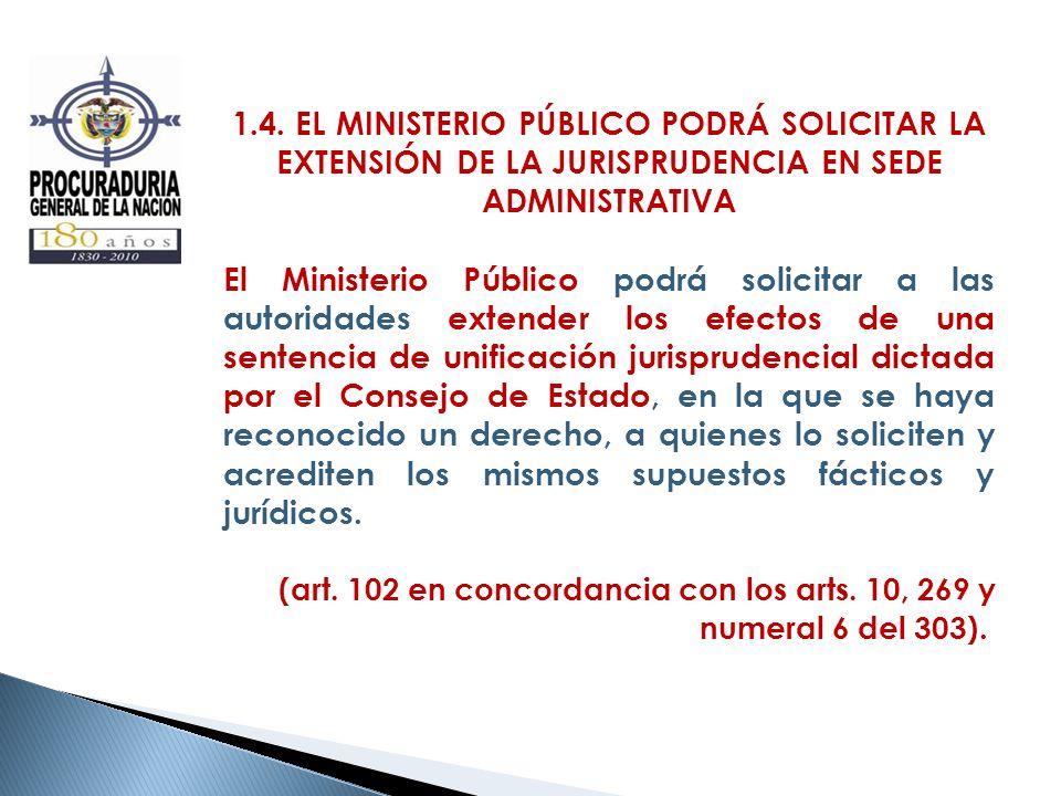 1.4. EL MINISTERIO PÚBLICO PODRÁ SOLICITAR LA EXTENSIÓN DE LA JURISPRUDENCIA EN SEDE ADMINISTRATIVA