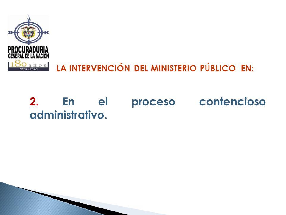 LA INTERVENCIÓN DEL MINISTERIO PÚBLICO EN: