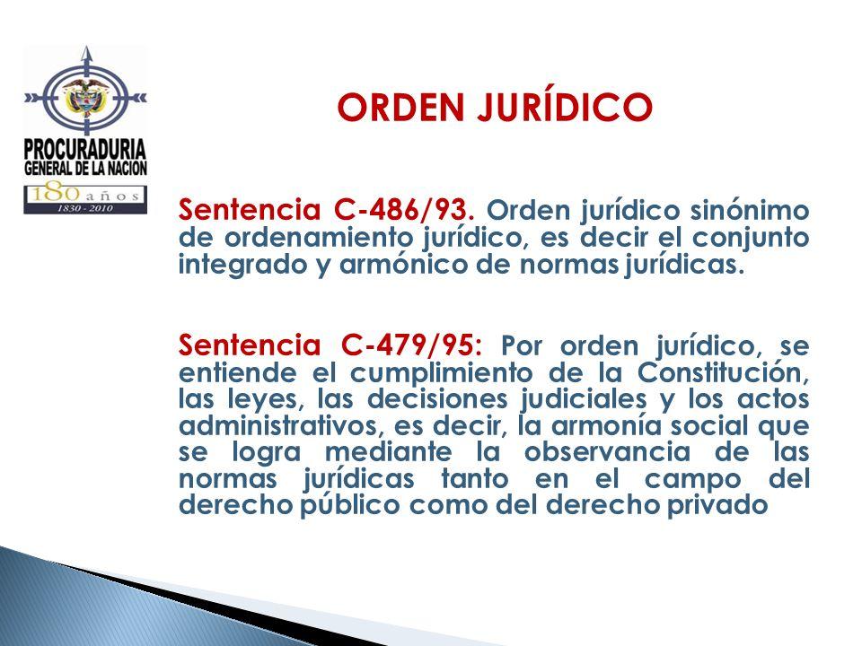 ORDEN JURÍDICO Sentencia C-486/93. Orden jurídico sinónimo de ordenamiento jurídico, es decir el conjunto integrado y armónico de normas jurídicas.