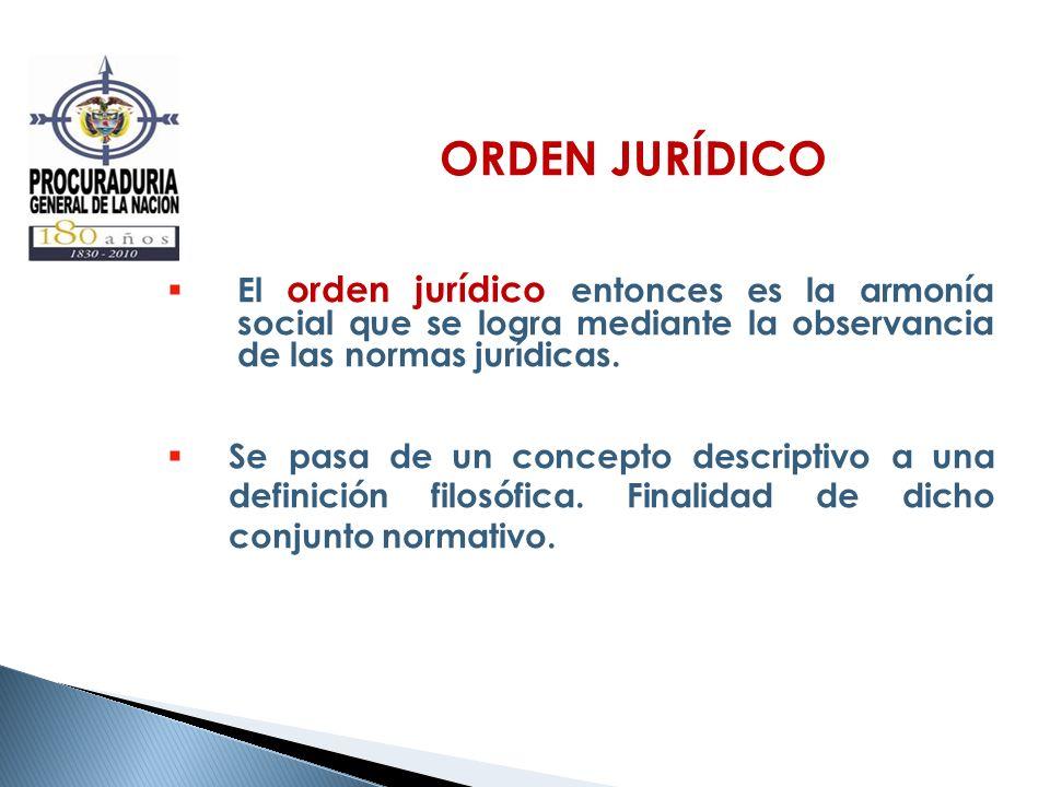 ORDEN JURÍDICO El orden jurídico entonces es la armonía social que se logra mediante la observancia de las normas jurídicas.