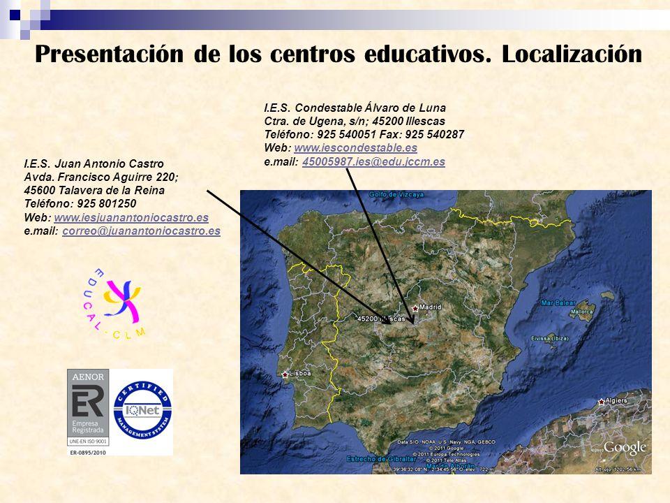 Presentación de los centros educativos. Localización