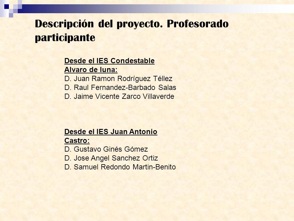 Descripción del proyecto. Profesorado participante