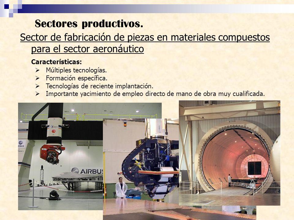 Sectores productivos. Sector de fabricación de piezas en materiales compuestos para el sector aeronáutico.