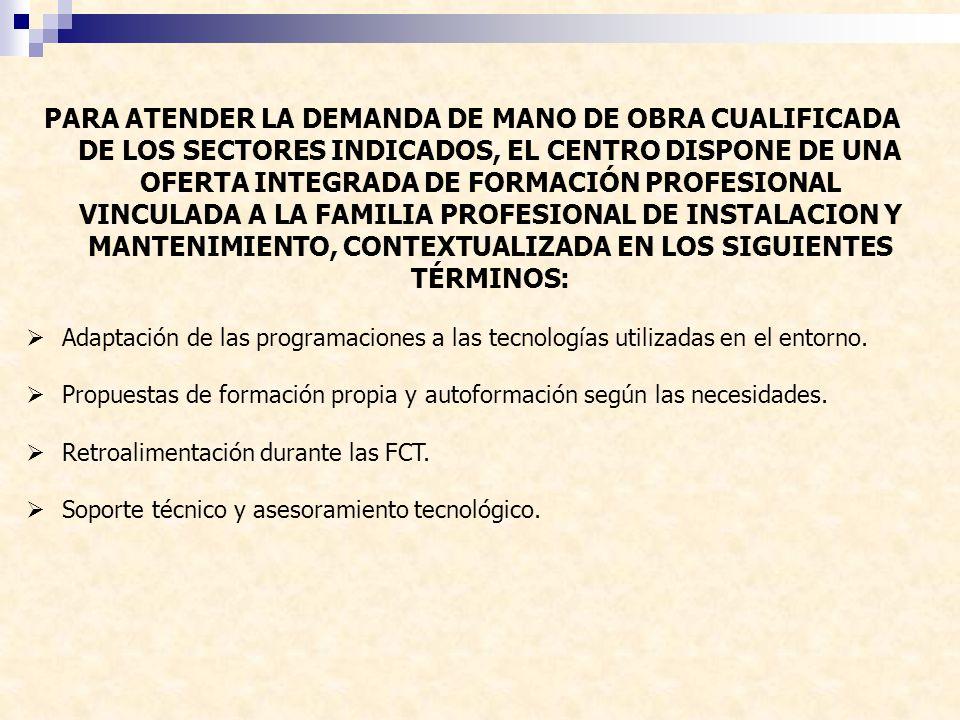 PARA ATENDER LA DEMANDA DE MANO DE OBRA CUALIFICADA DE LOS SECTORES INDICADOS, EL CENTRO DISPONE DE UNA OFERTA INTEGRADA DE FORMACIÓN PROFESIONAL VINCULADA A LA FAMILIA PROFESIONAL DE INSTALACION Y MANTENIMIENTO, CONTEXTUALIZADA EN LOS SIGUIENTES TÉRMINOS: