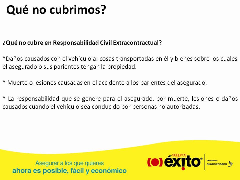 Qué no cubrimos ¿Qué no cubre en Responsabilidad Civil Extracontractual