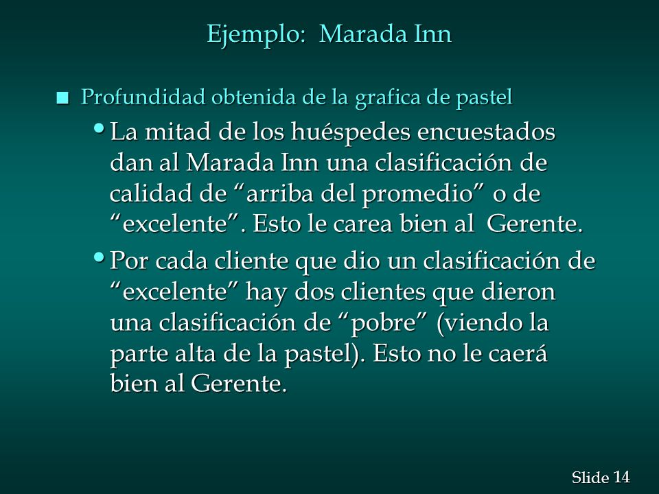 Ejemplo: Marada Inn Profundidad obtenida de la grafica de pastel.