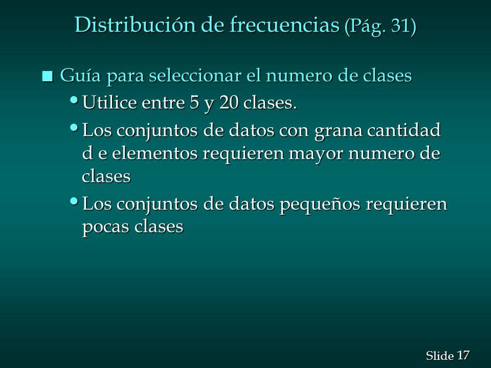Distribución de frecuencias (Pág. 31)