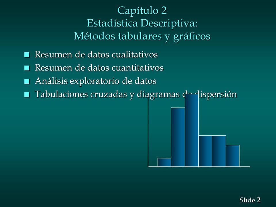 Capítulo 2 Estadística Descriptiva: Métodos tabulares y gráficos