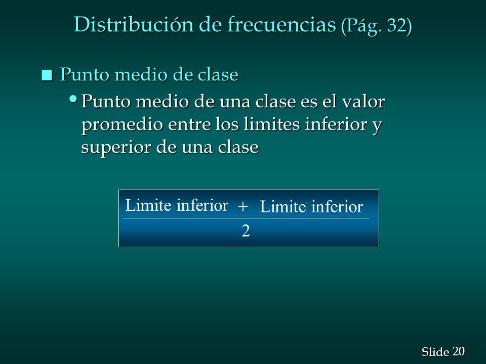 Distribución de frecuencias (Pág. 32)