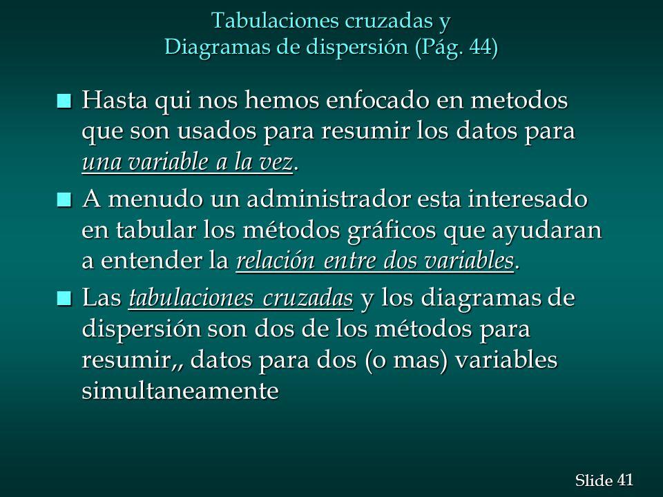 Tabulaciones cruzadas y Diagramas de dispersión (Pág. 44)