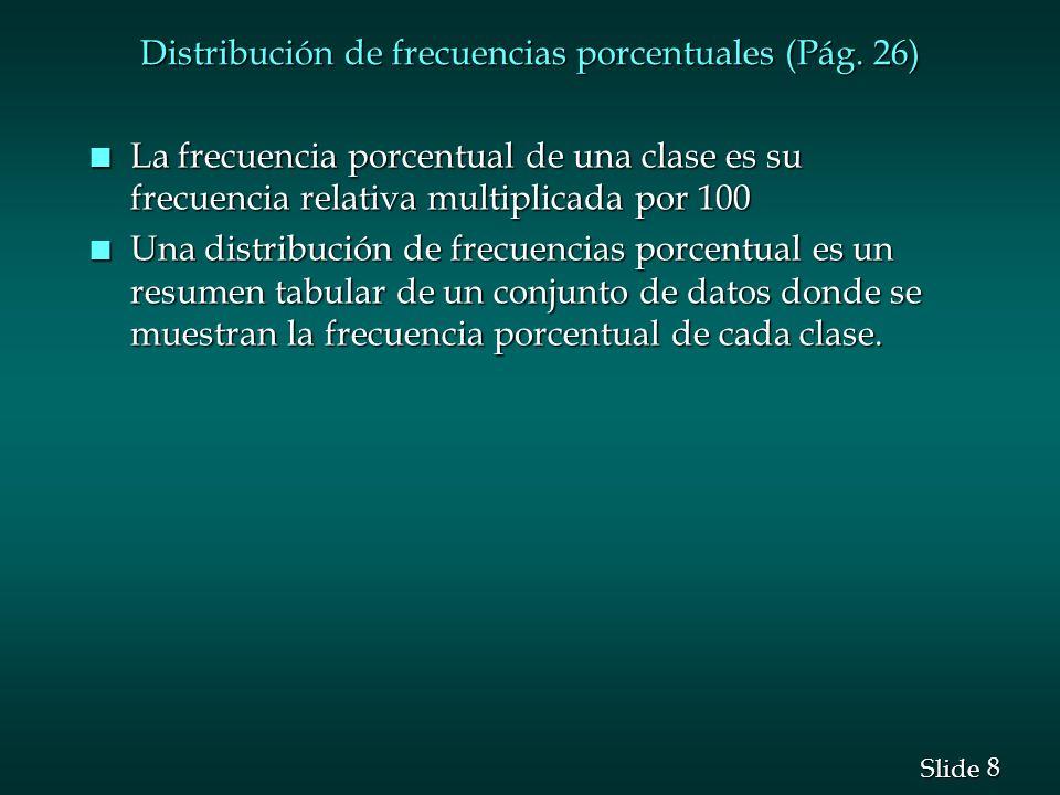 Distribución de frecuencias porcentuales (Pág. 26)