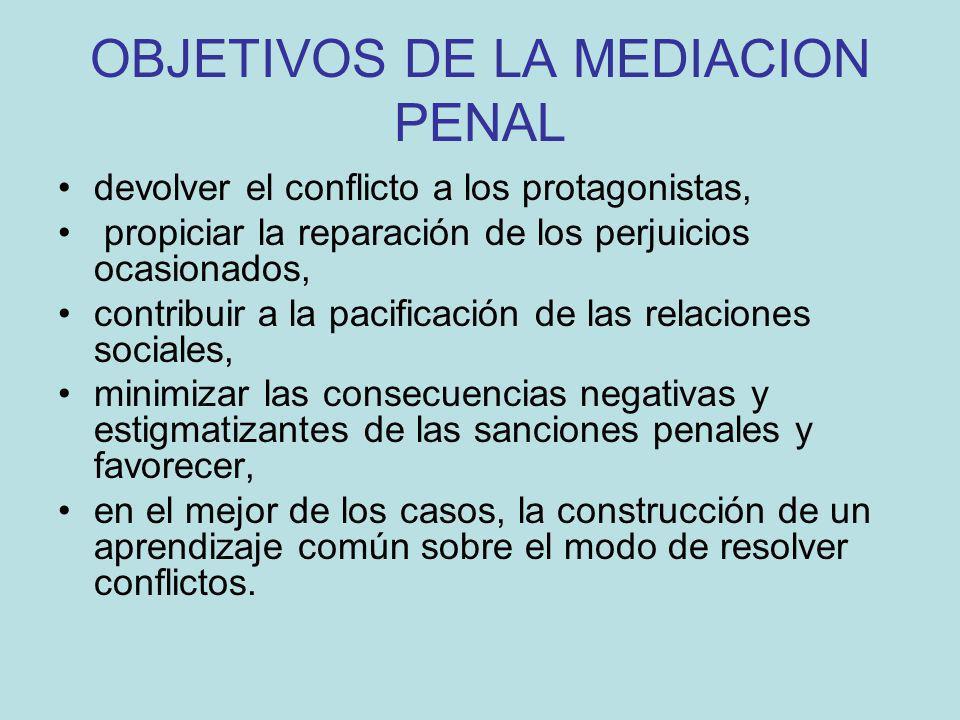OBJETIVOS DE LA MEDIACION PENAL