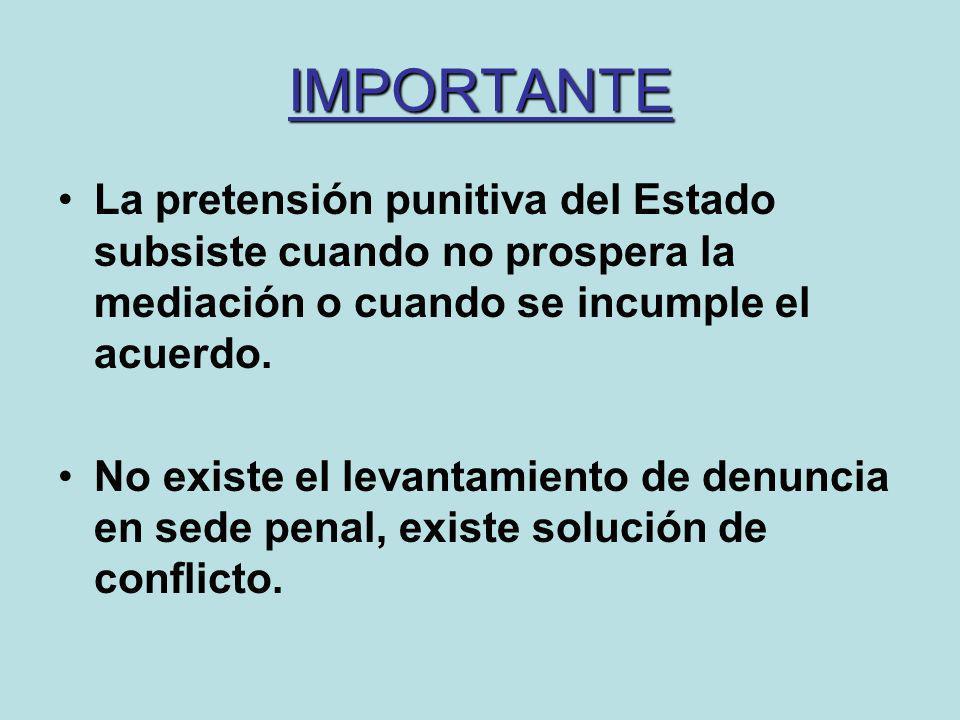 IMPORTANTELa pretensión punitiva del Estado subsiste cuando no prospera la mediación o cuando se incumple el acuerdo.
