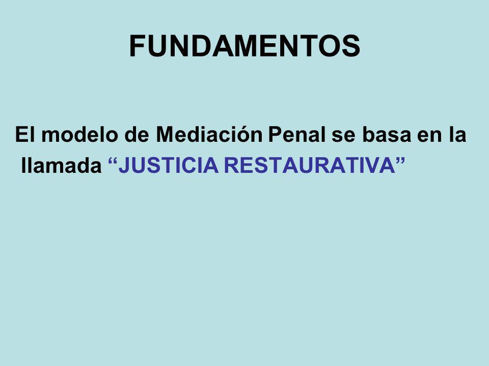 FUNDAMENTOS El modelo de Mediación Penal se basa en la