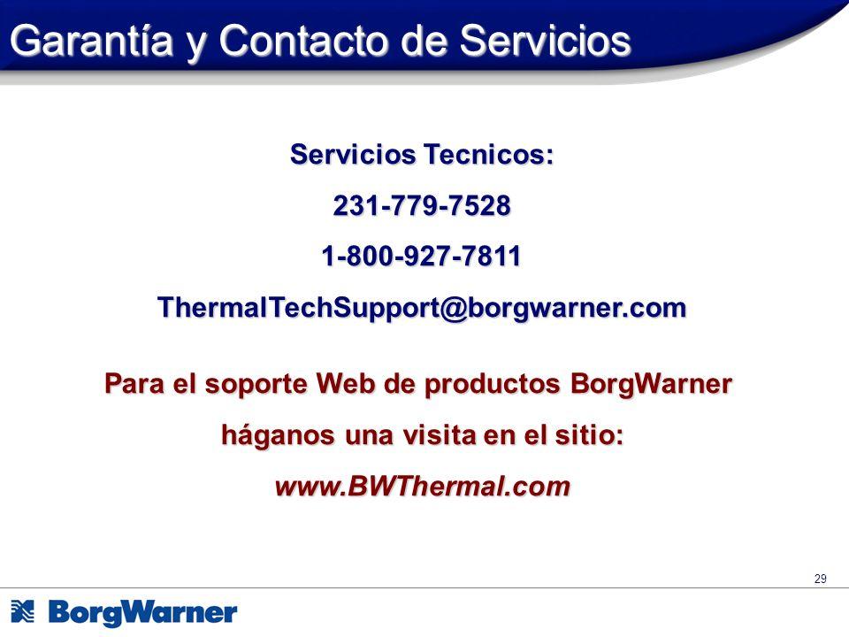Garantía y Contacto de Servicios