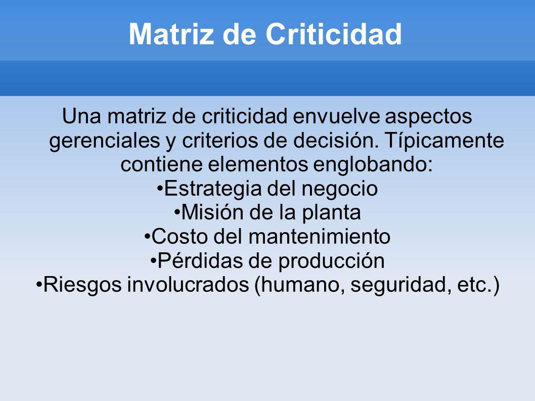 Matriz de Criticidad Una matriz de criticidad envuelve aspectos gerenciales y criterios de decisión. Típicamente contiene elementos englobando: