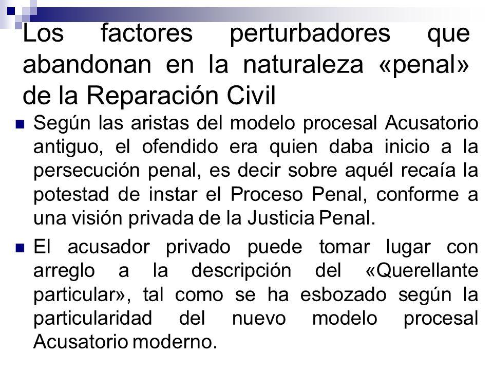 Los factores perturbadores que abandonan en la naturaleza «penal» de la Reparación Civil