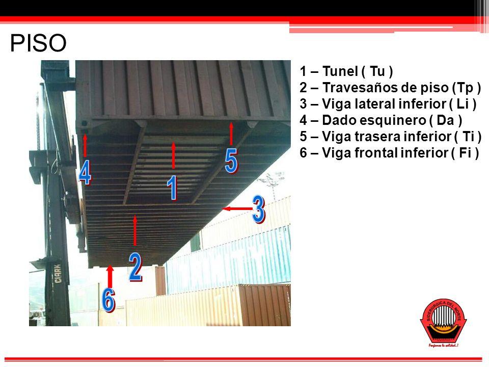 PISO 1 – Tunel ( Tu ) 2 – Travesaños de piso (Tp )