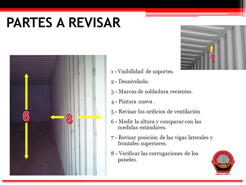 PARTES A REVISAR 1 6 8 1 - Visibilidad de soportes. 2 - Desnivelado.