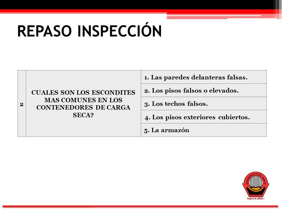 REPASO INSPECCIÓN 2. CUALES SON LOS ESCONDITES MAS COMUNES EN LOS CONTENEDORES DE CARGA SECA 1. Las paredes delanteras falsas.
