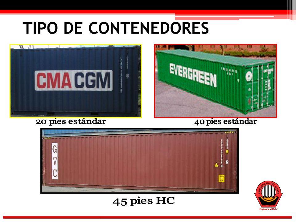 TIPO DE CONTENEDORES 20 pies estándar 40 pies estándar 45 pies HC