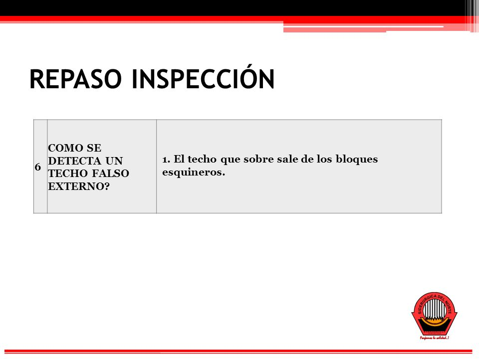 REPASO INSPECCIÓN COMO SE DETECTA UN TECHO FALSO EXTERNO 6
