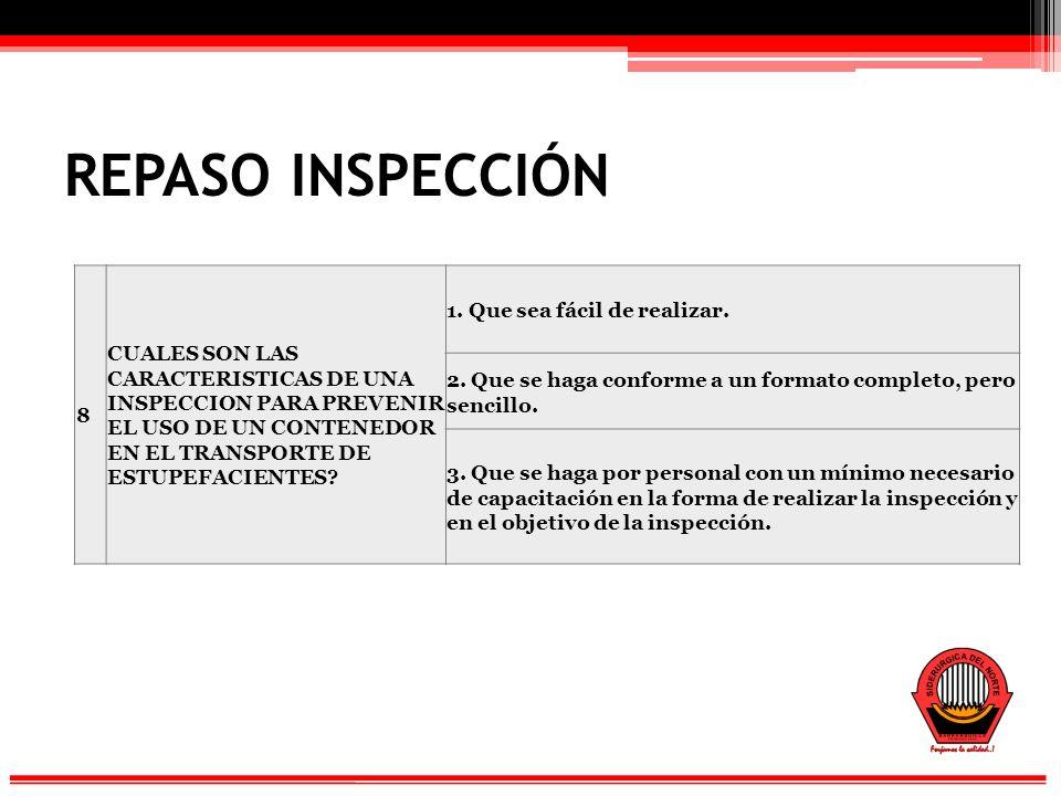 REPASO INSPECCIÓN 8. CUALES SON LAS CARACTERISTICAS DE UNA INSPECCION PARA PREVENIR EL USO DE UN CONTENEDOR EN EL TRANSPORTE DE ESTUPEFACIENTES